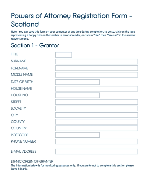 durable power of attorney registration form