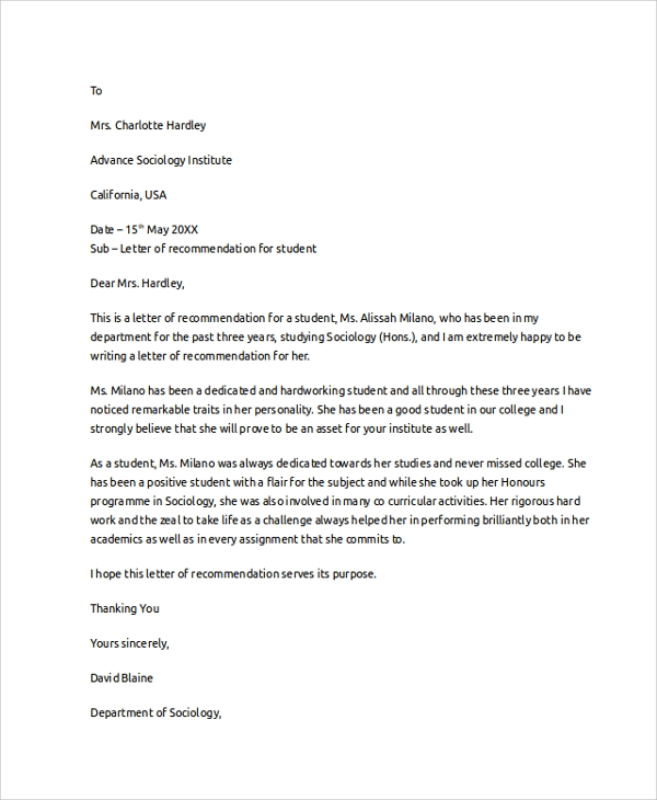 example letters of recommendation for students 8 letter of recommendation examples sample templates 14732