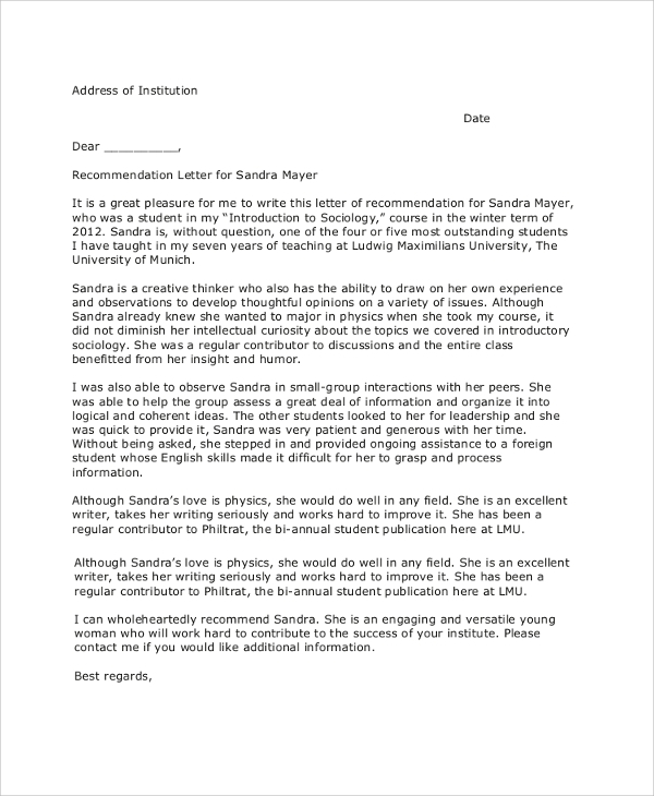Letter Of Recommendation Example  Samples In Pdf Word Letter