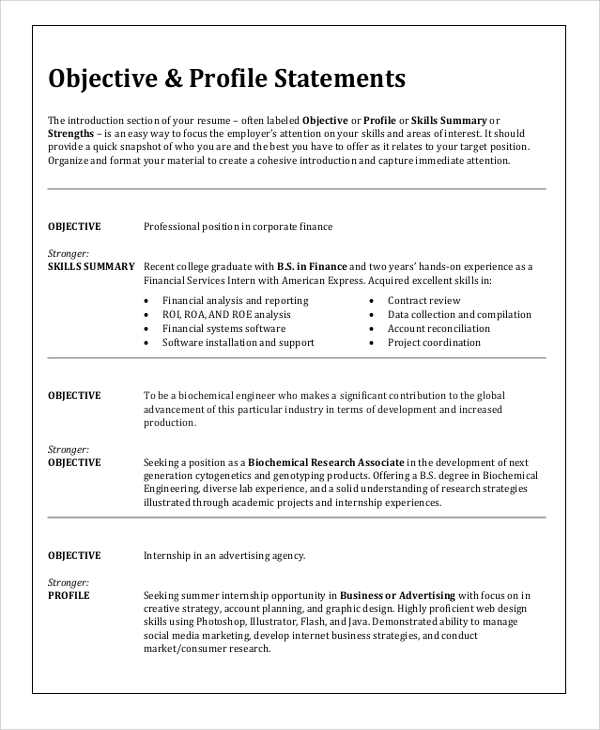Sample Resume Objective   Examples In Word Pdf
