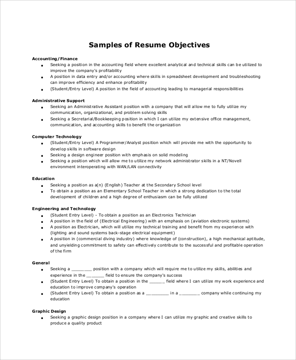 sle resume objective 6 exles in word pdf