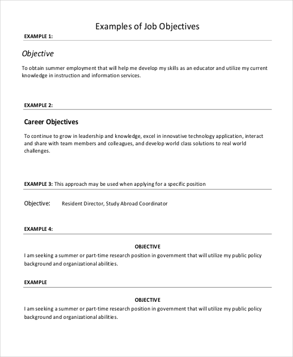 sample resume objective 6 examples in word pdf - Sample Resume With Objectives