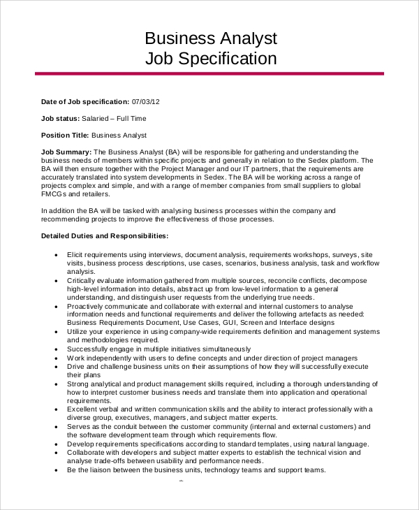 sle business analyst resume 6 exles in pdf