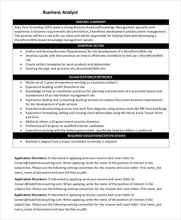 sample business analyst resume 6 examples in pdf