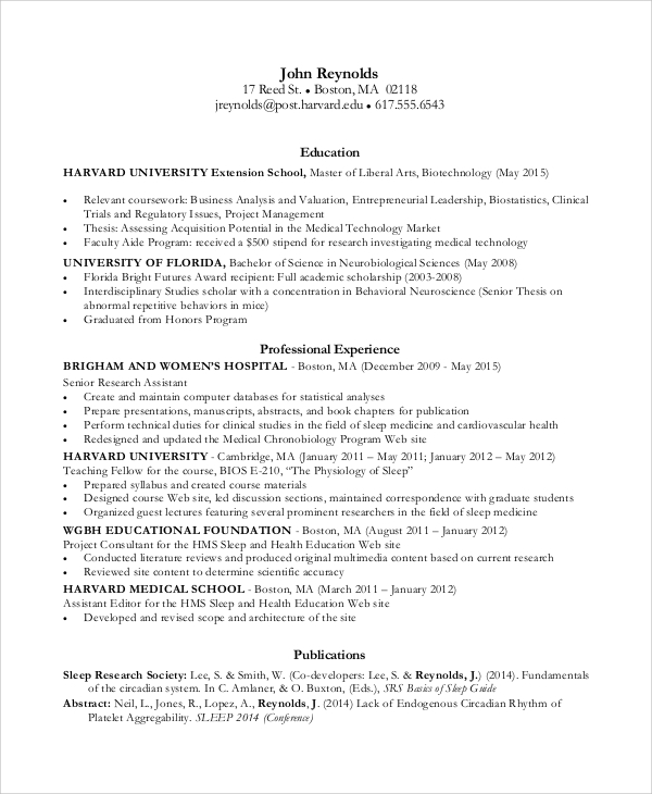 analyst summary resume