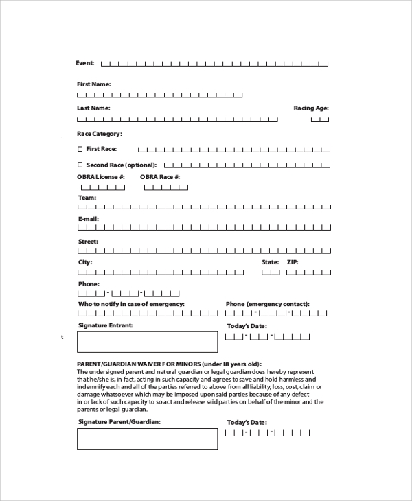 race entry form sample