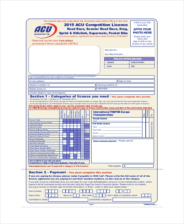 road race license application form