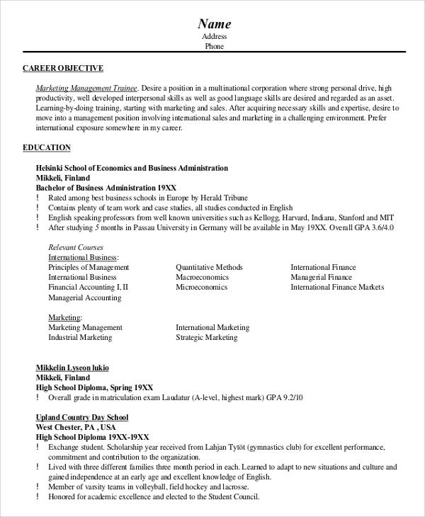 sample marketing resume objective