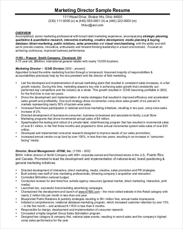 marketing director sample resume