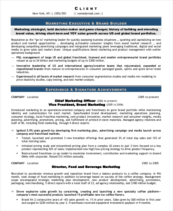 chief marketing officer resume
