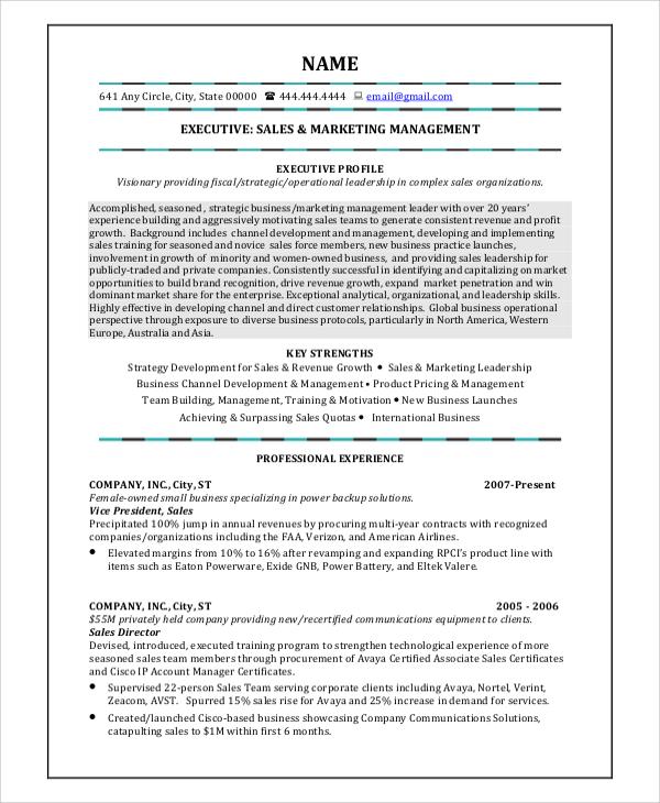 sales marketing management resume