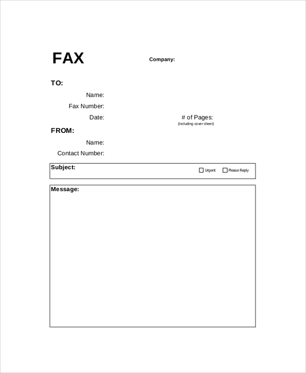 fax cover sheet page sample