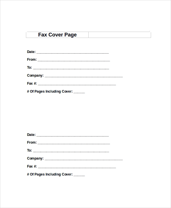 Sample Fax Cover Page 8 Examples in PDF Word – Sample Blank Fax Cover Sheet