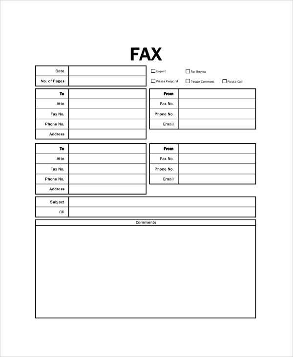 printable fax cover page