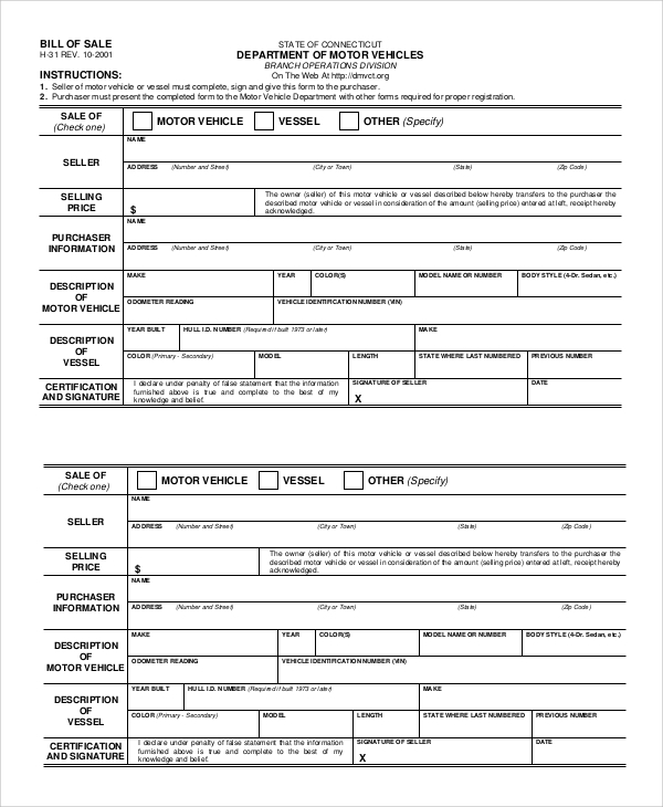 Sample Bill Of Sale Dmv - 8+ Examples In Pdf
