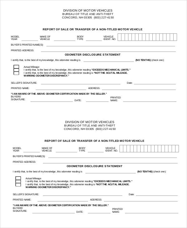 report of sale 8  Bill of Sale DMV Samples | Sample Templates