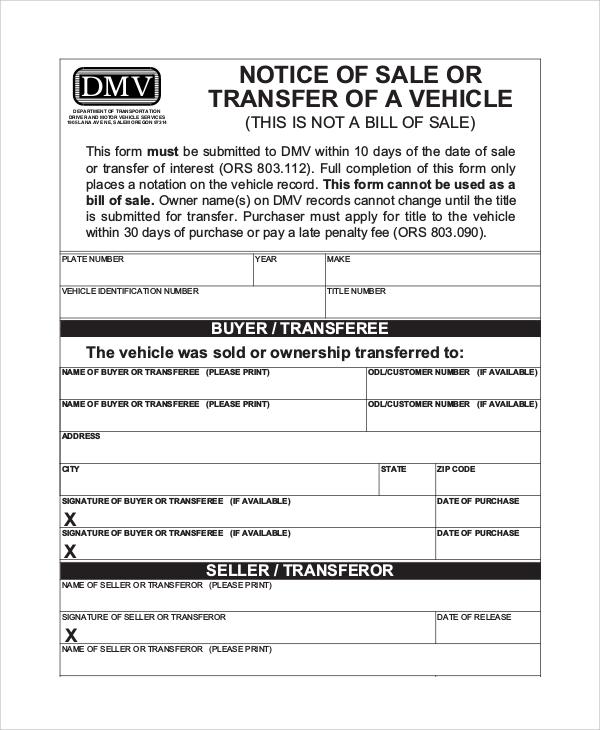dmv notice of sale