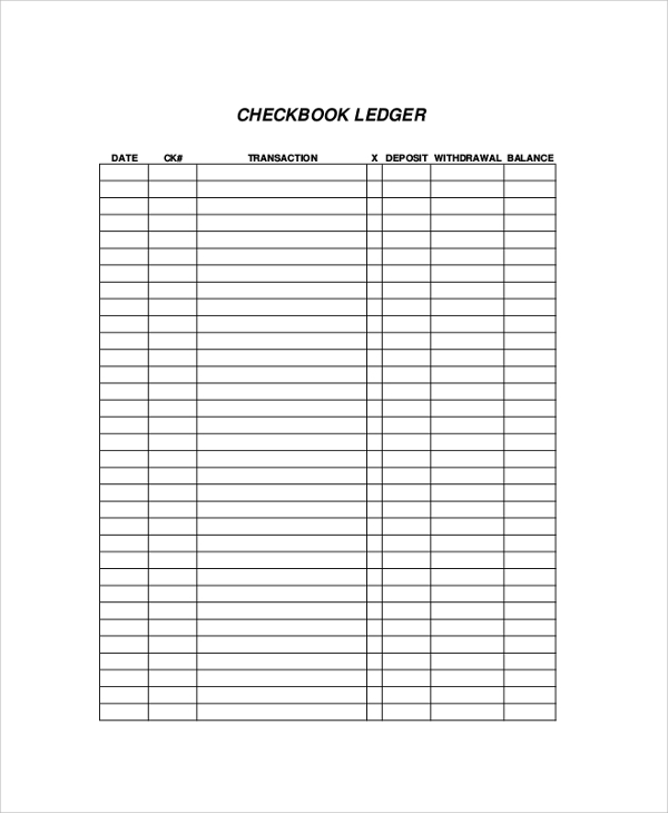 Printable Check Register Sample   Examples In Pdf Word Excel