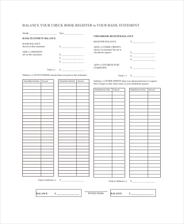 printable check register sample