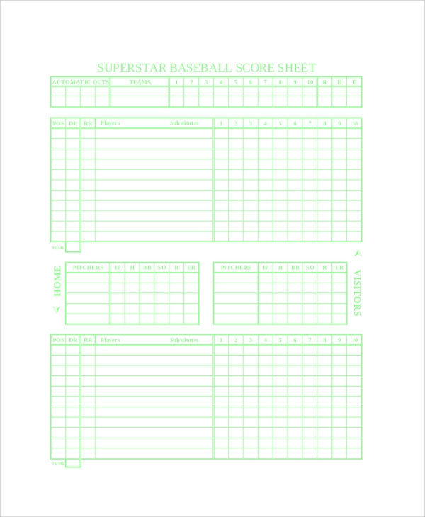 baseball score sheet example