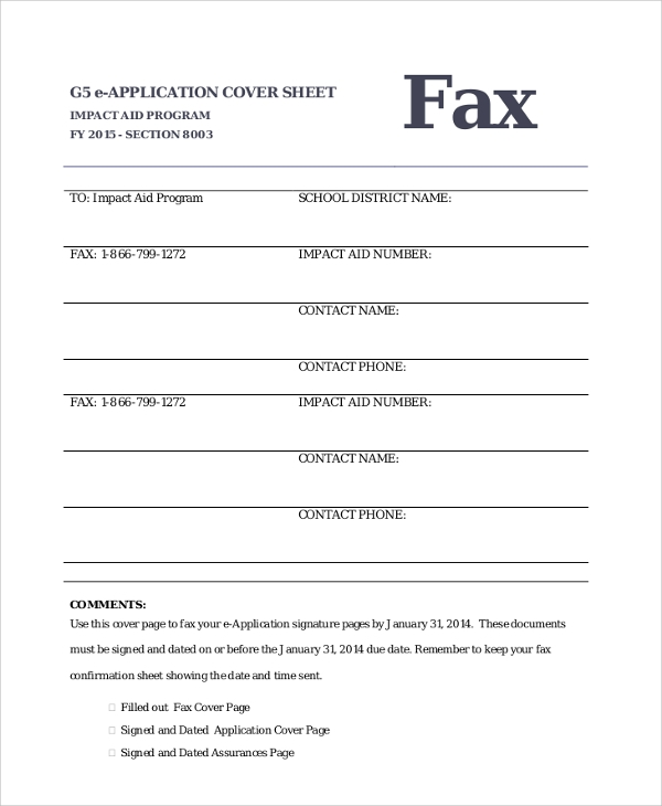 Sample E Application Fax Cover Sheet PDF