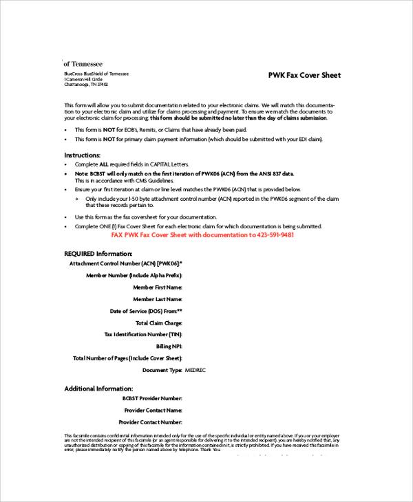 pwk fax cover sheet pdf