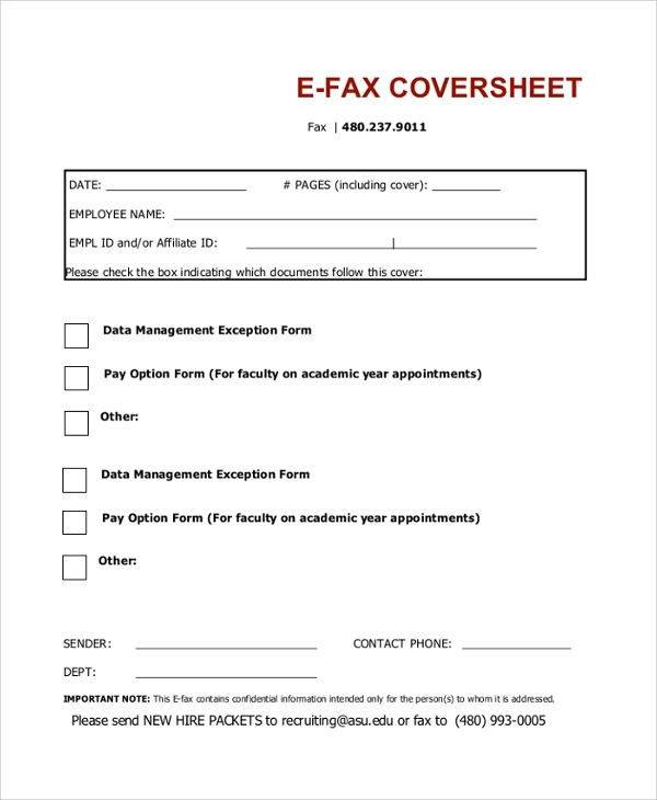 Sample Fax Cover Sheet - 9+ Examples In Pdf