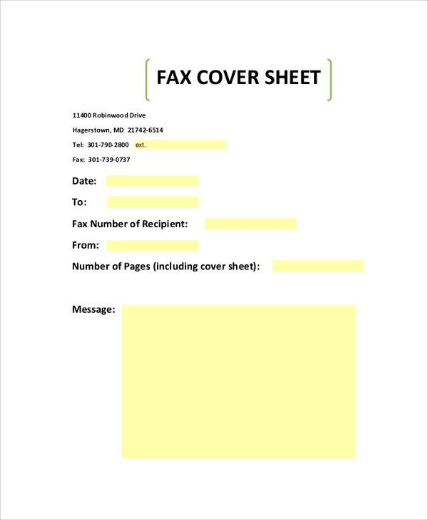 Sample Fax Cover Sheet   Examples In Pdf