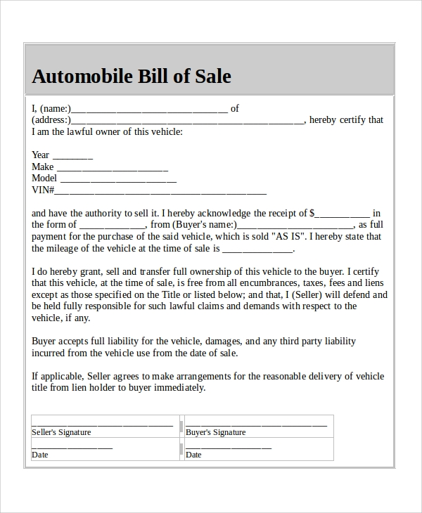 Sample Automobile Bill Of Sale   Examples In Word Pdf