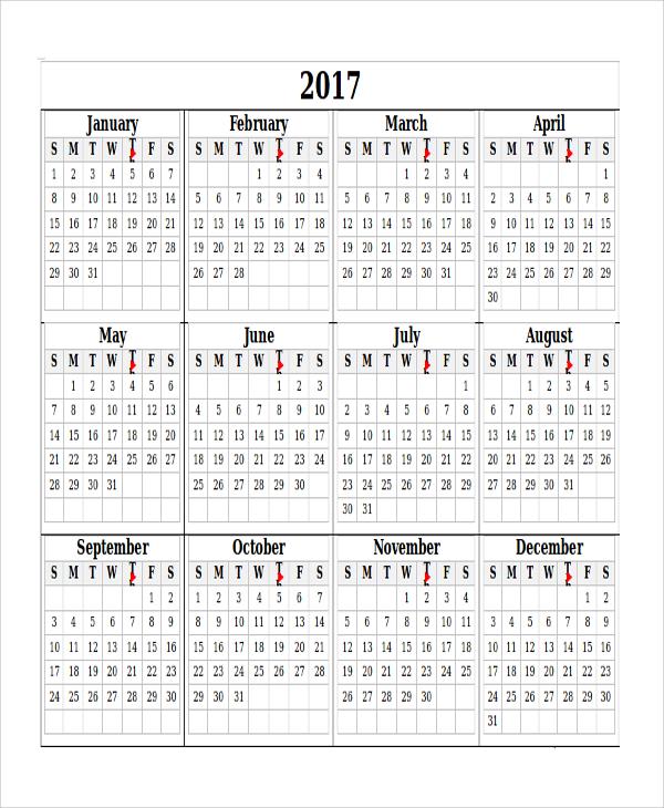 printable blank yearly calendar
