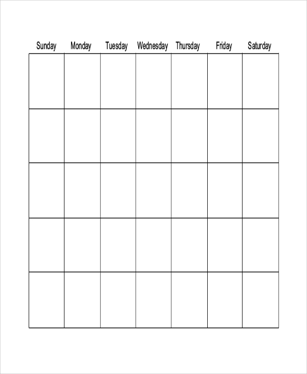 Sample Blank Printable Calendar   Examples In Word Pdf