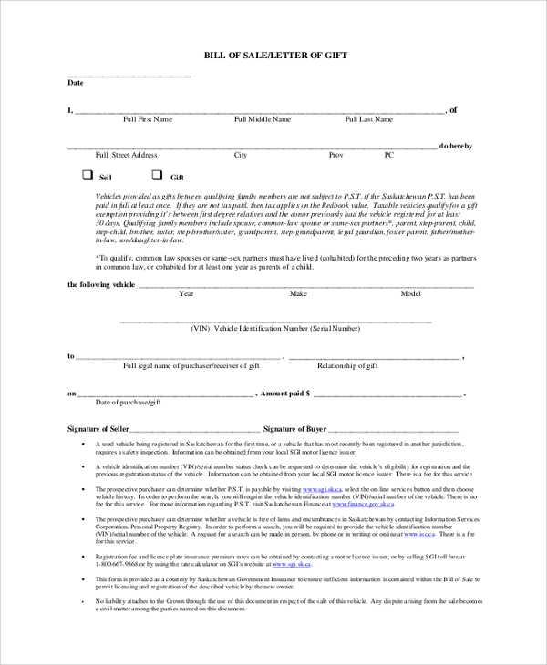 sample bill of sale letter