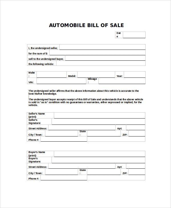 sample automobile bill of sale