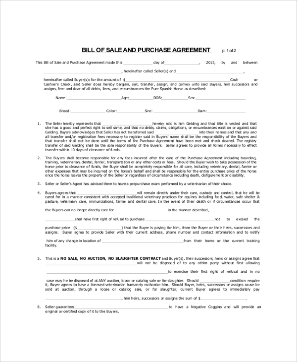 bill of sale and purchase agreement