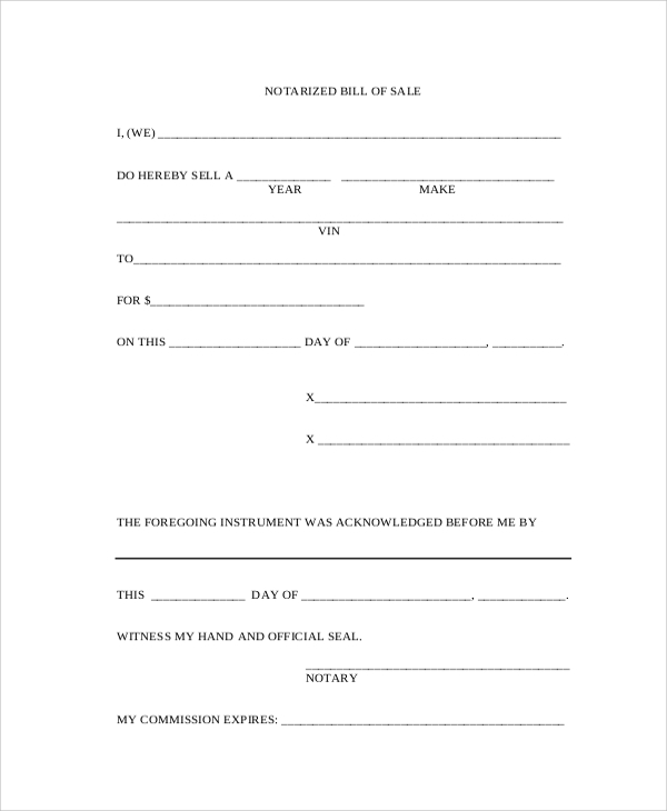 notarized bill of sale example