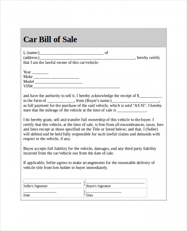 bill of sale for car format