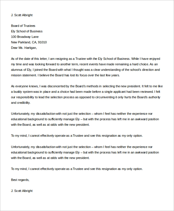 business trustee resignation letter