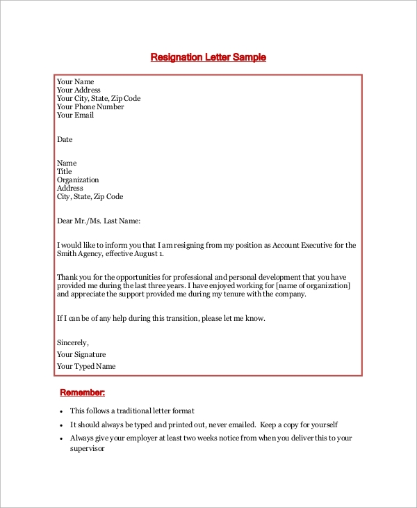 account executive resignation letter1