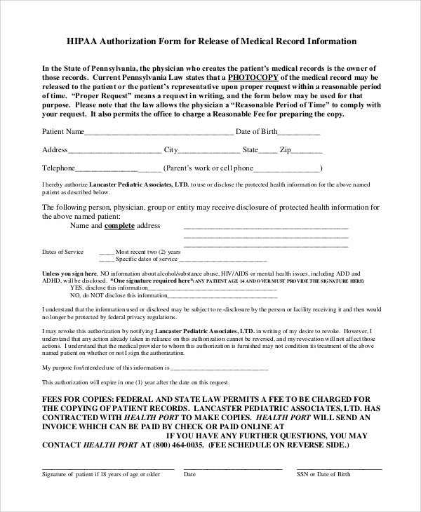 Hipaa Authorization Form | 8 Sample Hipaa Release Forms Sample Templates