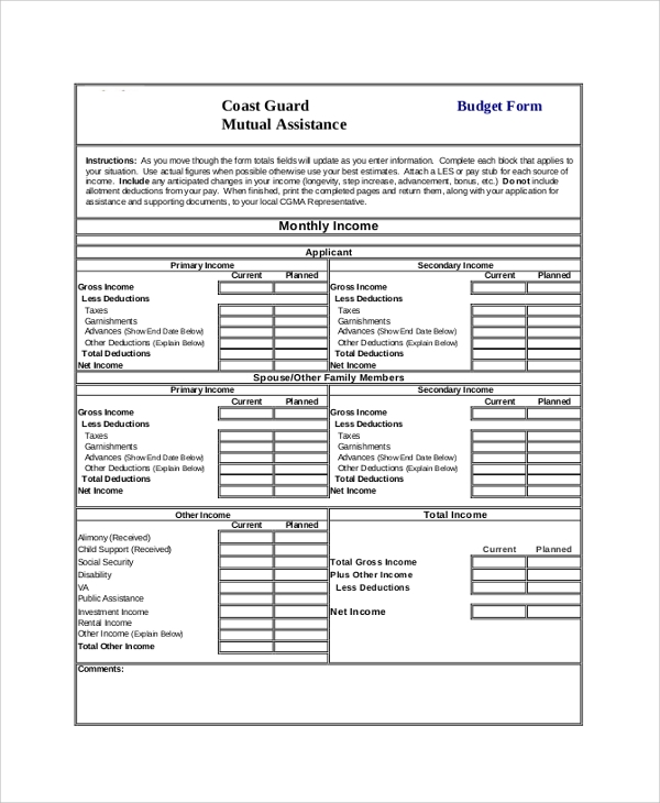 Sample Budget Form 8 Examples in PDF Word – Budget Form
