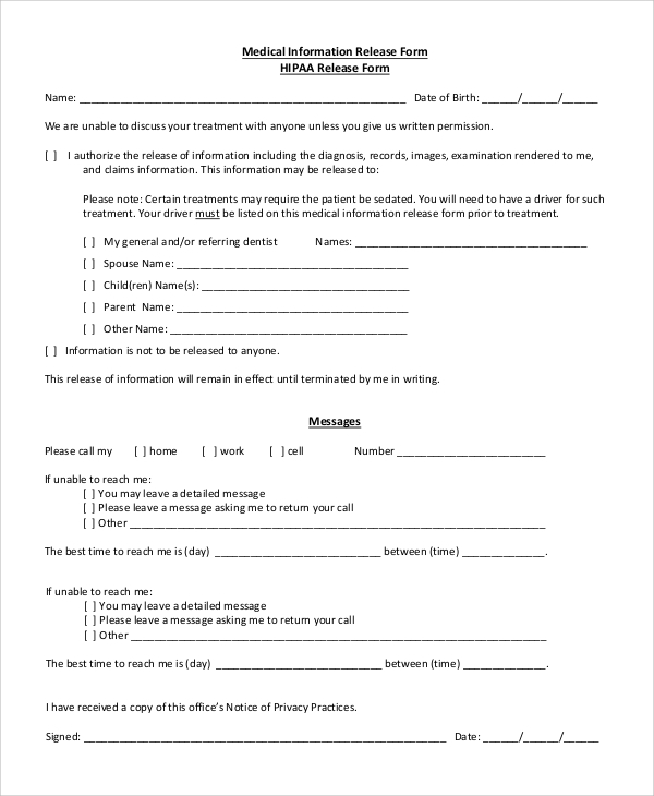 picture about Free Printable Hipaa Forms referred to as Pattern Hipaa Launch Type - 8+ Illustrations within just PDF, Term