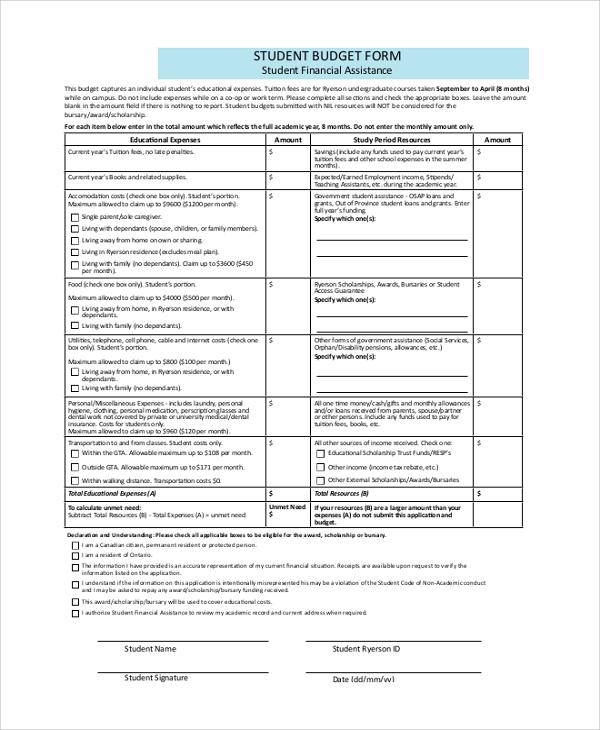 student budget form
