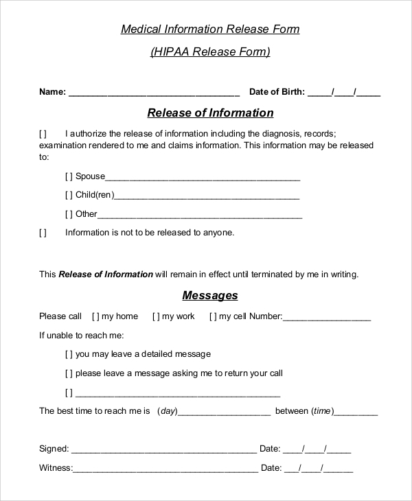 sample hipaa release form