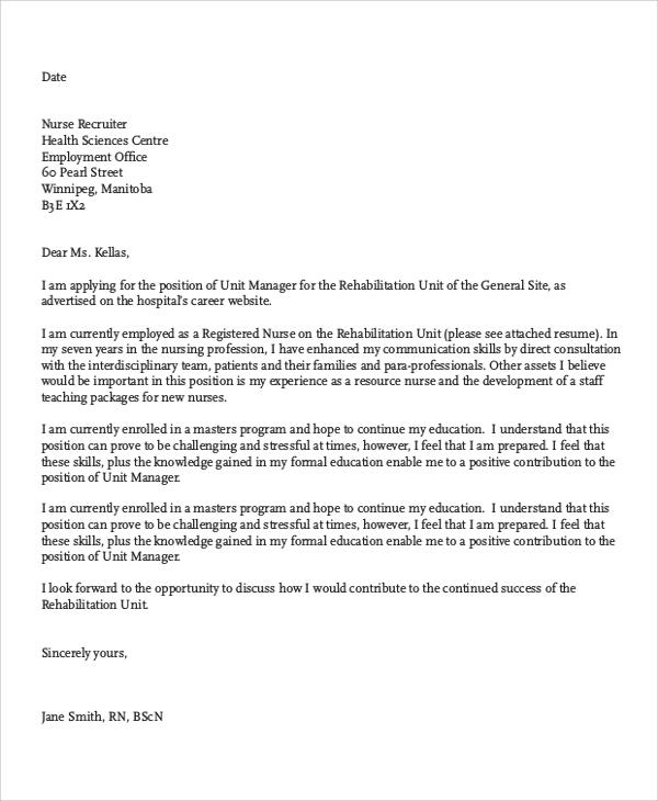 Nursing Job Cover Letter Template