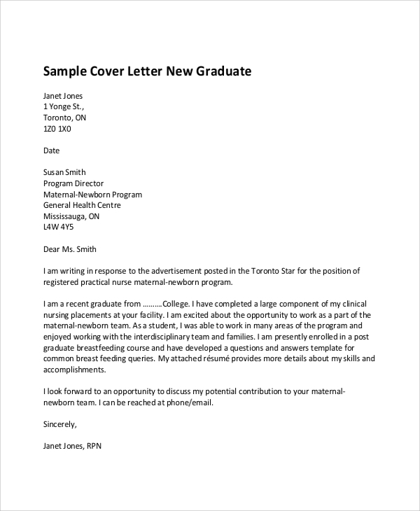 Sample Nursing Cover Letter   Examples In Word Pdf
