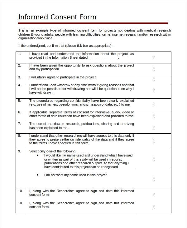 Sample Informed Consent Form 9 Examples in PDF Word – Research Consent Form Template