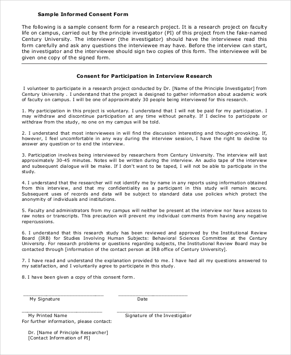 Sample Informed Consent Form - 9+ Examples In Pdf, Word