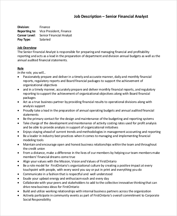 Sample Financial Analyst Job Description   Examples In Pdf Word