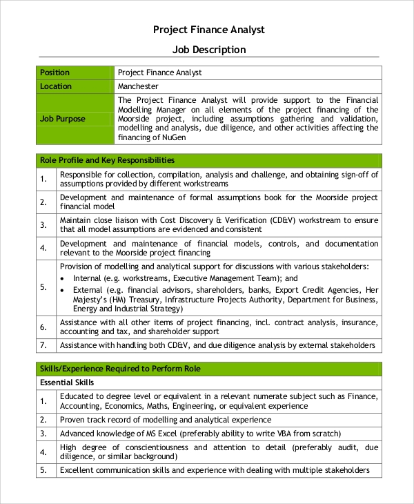 Sample Financial Analyst Job Description - 8+ Examples in PDF, Word
