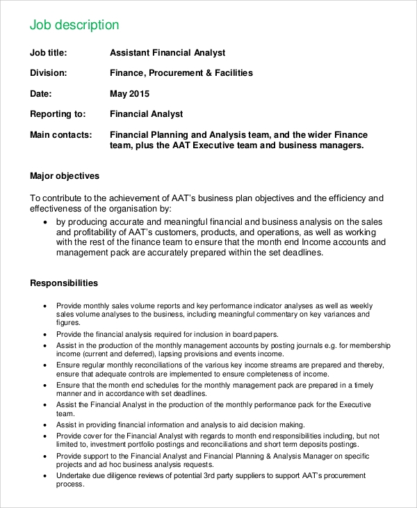 assistant financial analyst job description